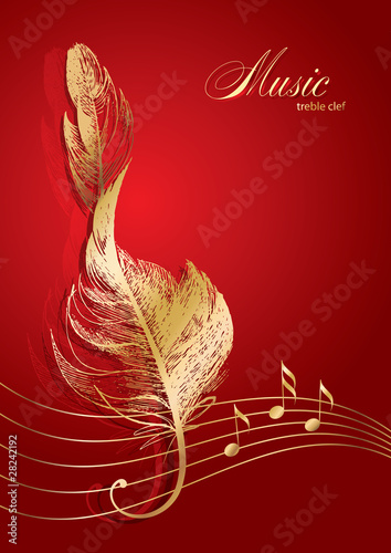 Golden treble clef in the form of the bird's feather on the red - 28242192