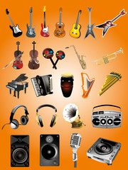 Collection of various music instruments