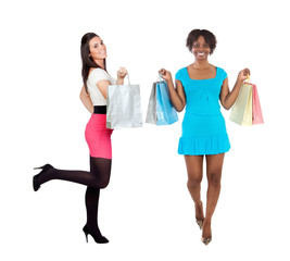 Two beautiful girls shopping