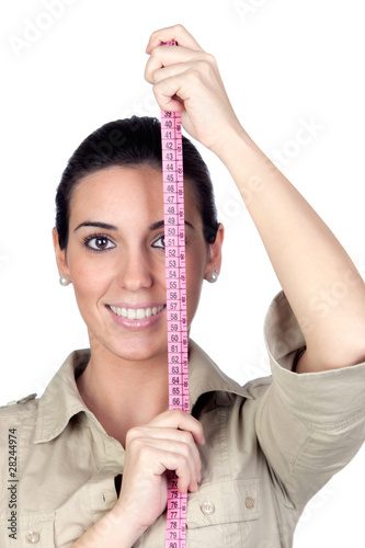 Beautiful girl with tape measure