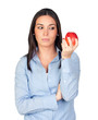 Beautiful girl with a red apple