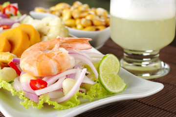 Peruvian ceviche with king prawn and Pisco Sour