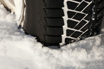 Winter tires cars in deep snow