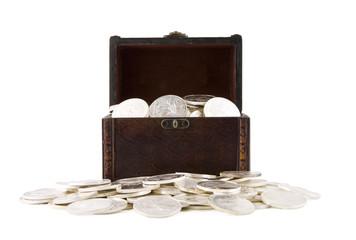 Retro case full of silver coins