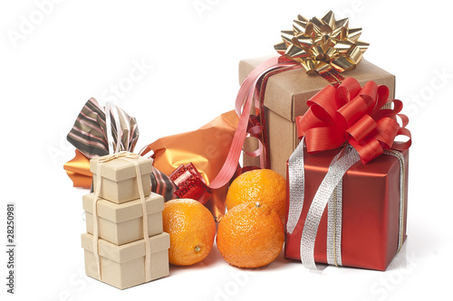 heap of presents and mandarins