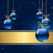 Winter background with blue christmas balls