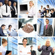A collage of images with young and smart businesspeople