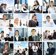 A collage of different business images with young people