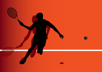 Tennis player silhouette vector women