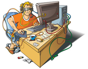 Computer addiction, boy immersed in virtual world, vector