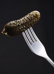 pickled gherkin on fork