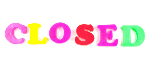 closed written in fridge magnets