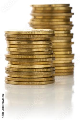 Stacks of golden coins.