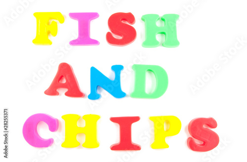 fish and chips written in fridge magnets