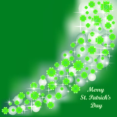 Vector green background for St. Patricks' Day with clovers