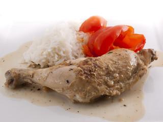 Hühnerbein mit Paprika
