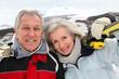 Senior couple at ski resort
