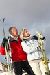 Senior couple having fun at ski resort