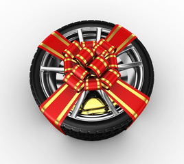 Tire with ribbon - 3d render