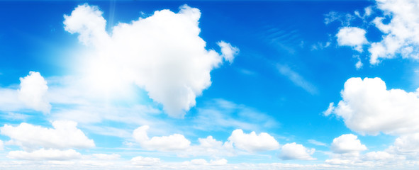 Cloudscape. Blue sky and white cloud.