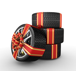 Tires with ribbon - 3d render