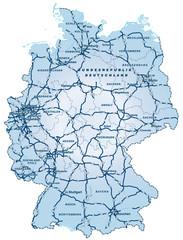 Deutschland mit Autobahnen ca 40cm x 52cm