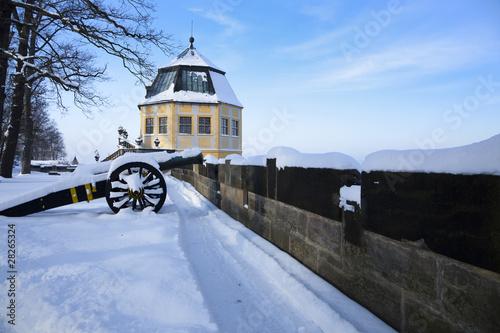 Leinwanddruck Bild Festung Königstein im Winter