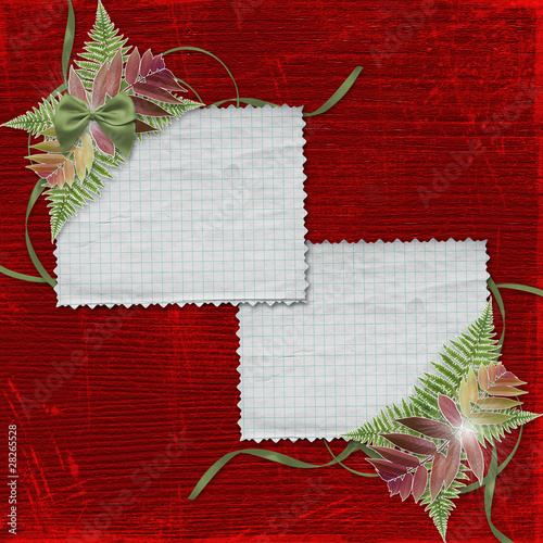 Abstract background with paper frame and bunch of ferns for Chri