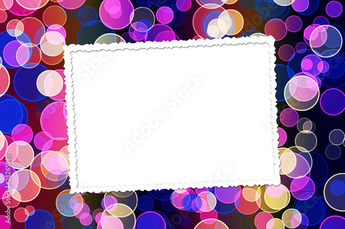 Abstract blur boke background with paper frame and bunch of twig