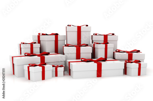 3d present boxes, on white background
