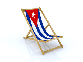 wood beach chair with cuban flag