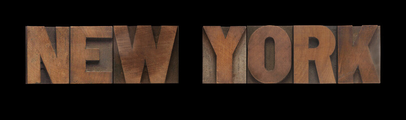the words New York in old letterpress wood type