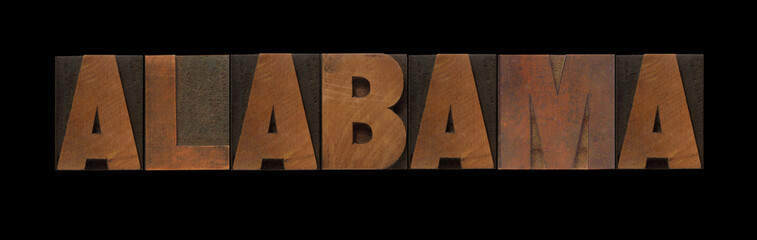 the word Alabama in old letterpress wood type