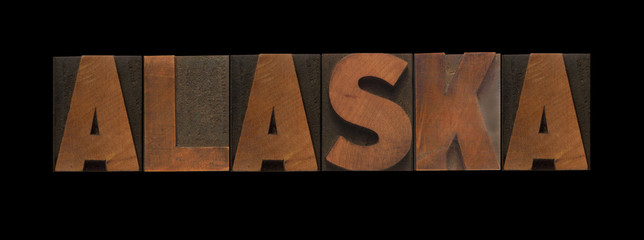 the word Alaska in old letterpress wood type