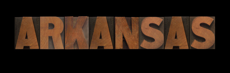 the word Arkansas in old letterpress wood type