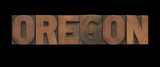 the word Oregon in old letterpress wood type
