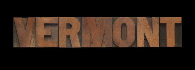 the word Vermont in old letterpress wood type