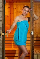 attractive woman in sauna