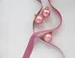 pink ornaments and ribbon