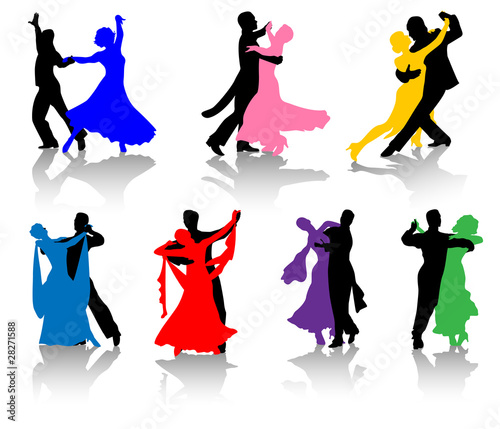 Silhouettes of ballet dancers in various colors