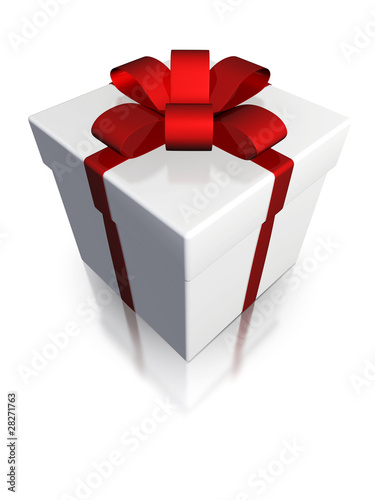 white gift box, isolated with clipping path