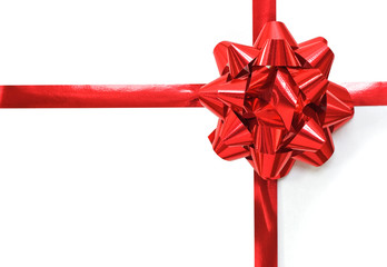 Christmas gift with a red ribbon and bow