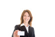 Smiling Caucasian Woman Holding Business Card White Background