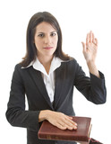 Caucasian Woman Swearing on a Bible Isolated White Background poster