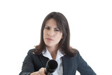 Skeptical Caucasian Woman Holding Microphone White Background