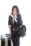 Smiling Caucasian Woman with Suitcase Backpack Traveler Isolated poster