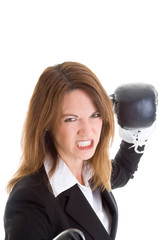 White Woman Gritting Teeth Boxing Gloves Punching Camera