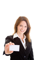 Smiling Caucasian Woman Holding Blank Business Card Isolated