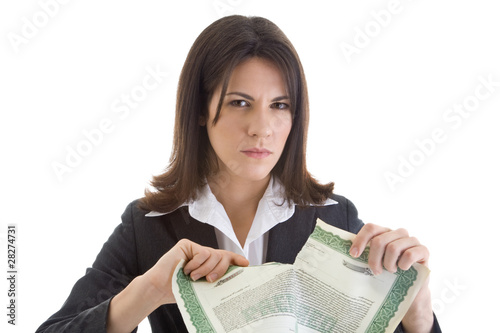 Angry Caucasian Woman Tearing Stock Certificate Isolated White
