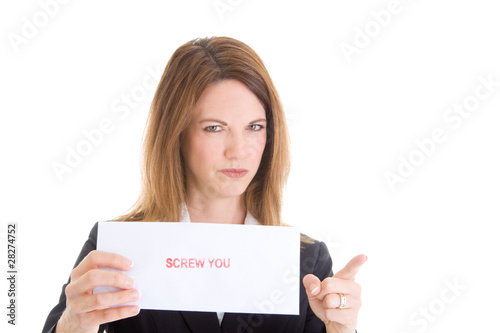 Angry Caucasian Woman Screw You Sign Pointing Camera White